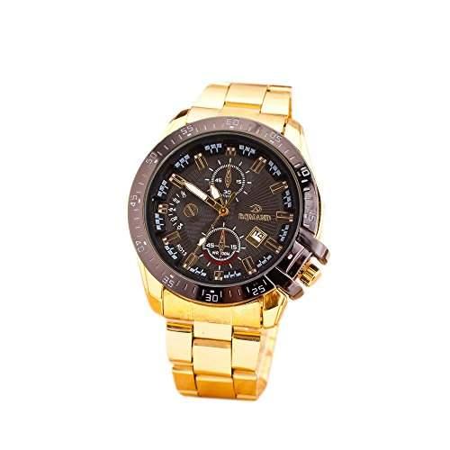OrrOrr Uhren,Mode Design Datum in Chronograph Unisex Armbanduhr,Klassisch Gold Edelstanl band Damen Herren Quarzuhr schwarz