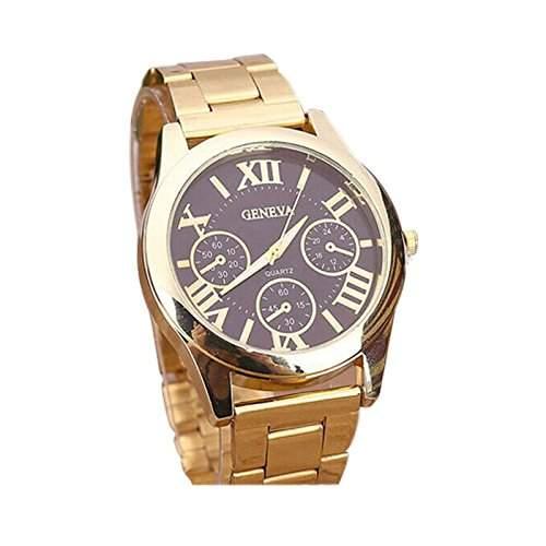 OrrOrr Damenuhr Armbanduhr Gold Geneva Hipster Roman Quarz Quarzuhr Basel-Stil Strass Strassuhr Damen Analoge uhr braun