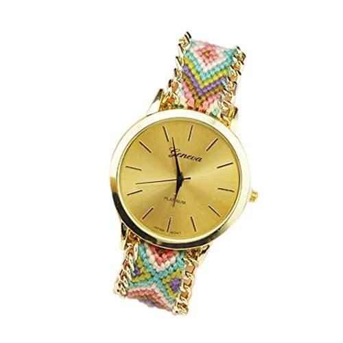 OrrOrr Geneva Damen Armbanduhr Platinum Ethno Blogger Hipster Vintage Stoff Analog Quarz gold #1