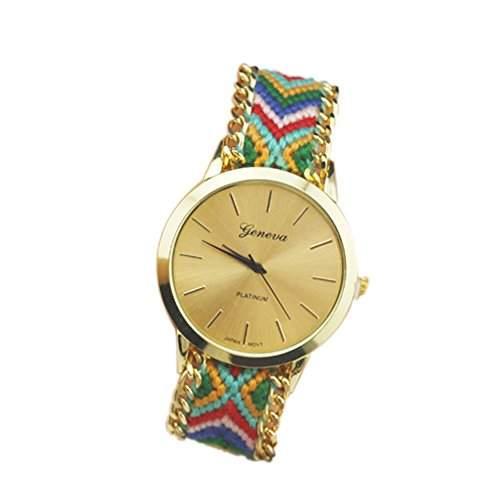 OrrOrr Geneva Damen Armbanduhr Platinum Ethno Blogger Hipster Vintage Stoff Analog Quarz gold #6