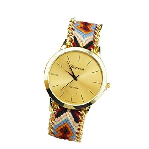 OrrOrr Geneva Damen Armbanduhr Platinum Ethno Blogger Hipster Vintage Stoff Analog Quarz gold #7