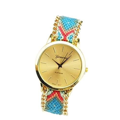OrrOrr Geneva Damen Armbanduhr Platinum Ethno Blogger Hipster Vintage Stoff Analog Quarz gold #8