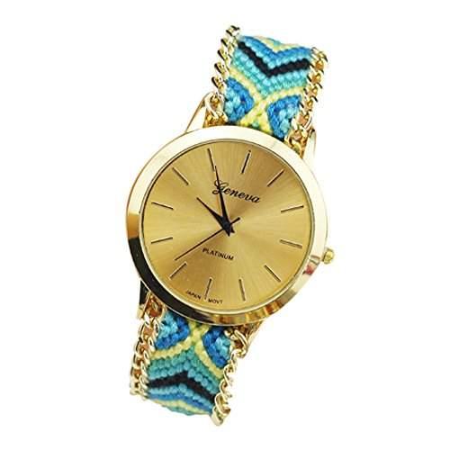 OrrOrr Geneva Damen Armbanduhr Platinum Ethno Blogger Hipster Vintage Stoff Analog Quarz gold #11