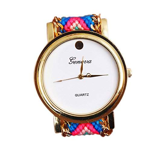 OrrOrr Geneva Damen Armbanduhr Sportuhr Platinum Ethno Blogger Hipster Vintage Stoff Analog Quarz gold #1