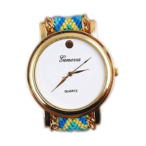 OrrOrr Geneva Damen Armbanduhr Sportuhr Platinum Ethno Blogger Hipster Vintage Stoff Analog Quarz gold #9