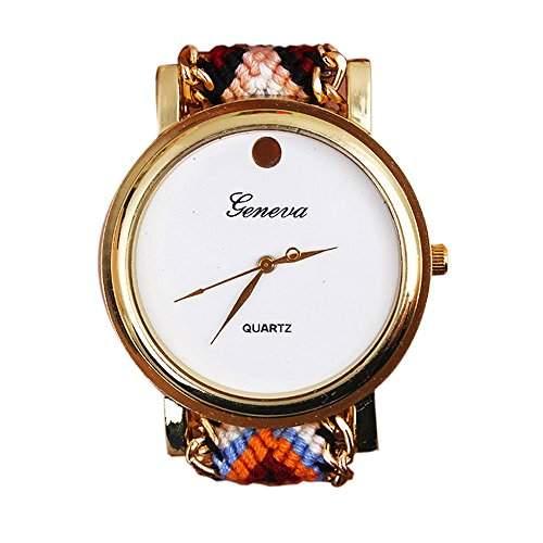 OrrOrr Geneva Damen Armbanduhr Sportuhr Platinum Ethno Blogger Hipster Vintage Stoff Analog Quarz gold #10