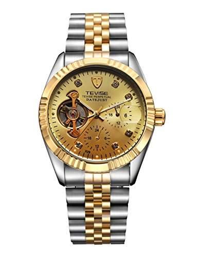 OrrOrr Luxury Edelstahl Skeleton Herren Uhr Mechanische Automatik Uhr Herrenuhr Armbanduhr Gold
