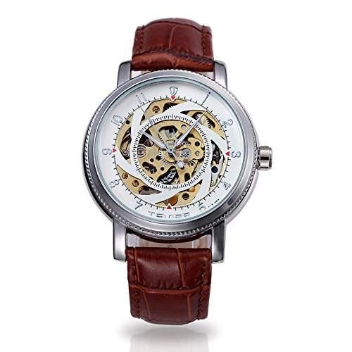 OrrOrr Luxury Automatikuhr Leder Skeleton Herren Uhr Mechanische Automatik Uhr Herrenuhr Armbanduhr Braun