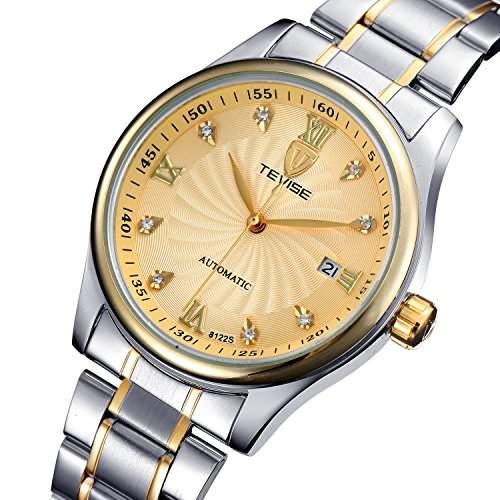 OrrOrr Automatikuhr Datum Strass Herren Uhr Mechanische Automatik Uhr Herrenuhr Armbanduhr Gold
