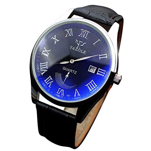 OrrOrr Luxus-Mode Kunstleder Herren Datum Roman Blue Ray Glas Quartz Analog Uhren Schwarz