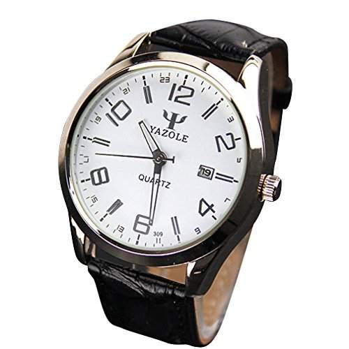 OrrOrr Luxus-Mode Kunstleder Herren Datum Blue Ray Glas Quartz Analog Uhren Schwarz Weiss