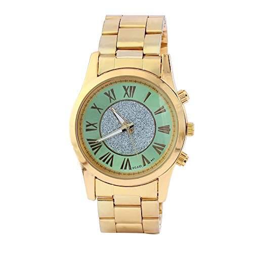 OrrOrr Mode Herren Armbanduhr Gold Edelstahl Legierung Wasserdicht Analog Quarz Elegant Einzigartig Armband Uhr gruen