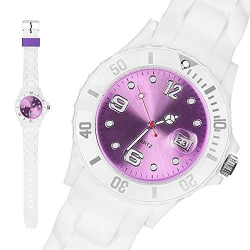 Taffstyle® Sportarmbanduhren - Sportuhr Silikon Armbanduhr Sport Trend Weiss Farbiges Ziffernblatt mit Datum - Weiss  Lila