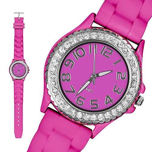 Taffstyle® Elegante Damenarmbanduhr Silikon Damen Armbanduhr mit klaren Strasssteinen bunte Damenuhr Analog Uhr mit Silikonarmband Quarz Frauenuhr mit weissen Kristallen - Pink