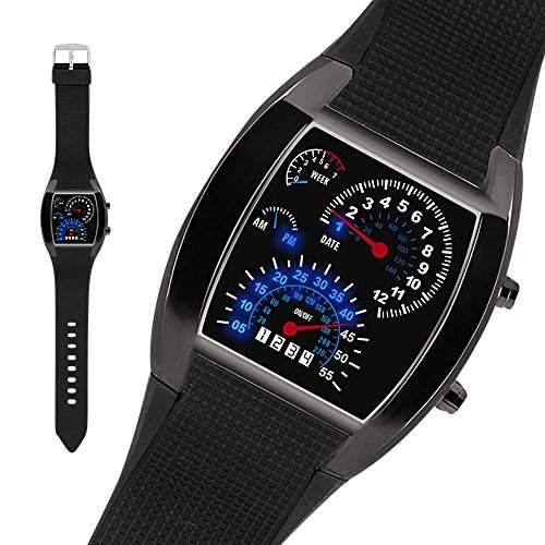 Taffstyle® Sportarmbanduhren - Sportuhr LED Binaer Digital Race Uhr Schwarzes Gehaeuse - Braun