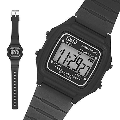 Q & Q - by Citizen Sportarmbanduhren - Silikon Digital Armbanduhr - Schwarz  Weiss