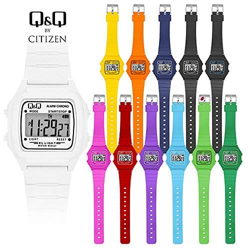 Q & Q - by Citizen Sportarmbanduhren - Silikon Digital Armbanduhr - Orange