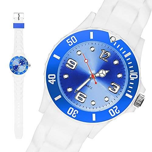 Taffstyle® Sportarmbanduhren - Sportuhr Silikon Armbanduhr Bunte Sport Mode Trend Watch Farbige Krone  43mm - Weiss  Blau