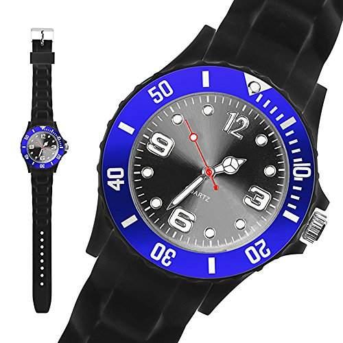 Taffstyle® Sportarmbanduhren - Sportuhr Silikon Sport Uhr Herren XXL 48mm Armbanduhr Schwarz - Blau