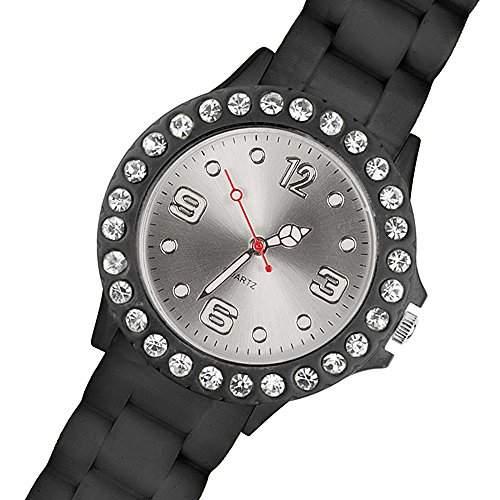 Taffstyle® Armbanduhr Bunte Elegante Damen Frauen Strass Analog Silikon Uhr Sportuhr mit weissen Kristallen - Schwarz