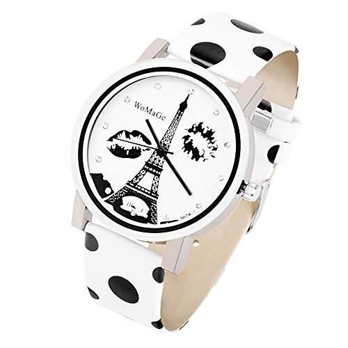Taffstyle® Damenarmbanduhr Zweifarbig Vintage Damen Armbanduhr mit Strasssteinen, Polka Dots und Eiffelturm Schwarz Weiss