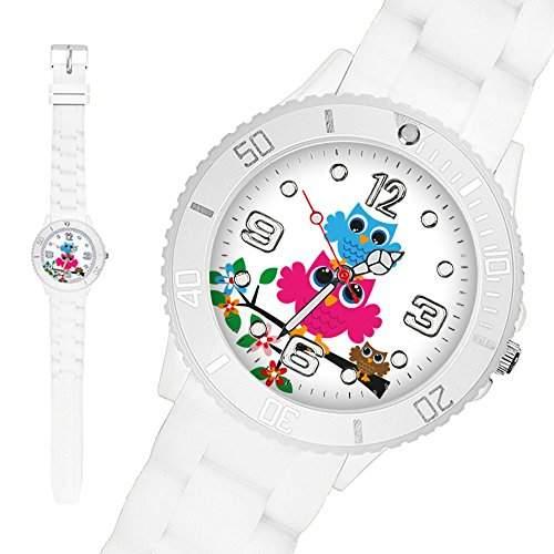 Taffstyle® Sportarmbanduhren - Sportuhr Kinder Silikon Armbanduhr Sport Silikonarmband Uhr mit Blumen und Eulen Familie Motiv - Small 39 mm  Weiss
