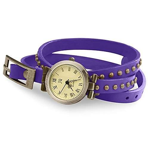 Taffstyle® Damen Leder Analog Wickelarmband Uhr Vintage Armbanduhr Designer Wickeluhr Damenarmbanduhr Analoguhr mit Retro Look runden altgold Nieten und lederarmband zum wickeln - Lila  Gold