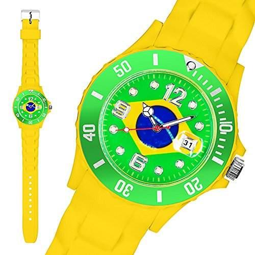 Taffstyle® Fanartikel Silikon Armbanduhr Gummi Trend Watch Quarz Fan Uhr mit Fussball Weltmeisterschaft WM & EM Europameisterschaft 2016 Laender Flaggen Style - Holland Niederlande