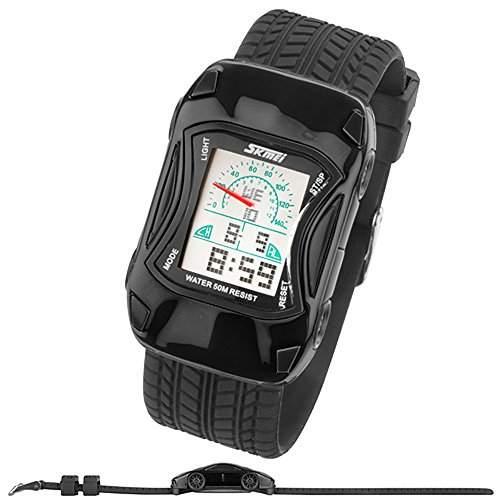 Taffstyle® Sportarmbanduhren - Sportuhr Bunte Silikon Uhr Digital Kinder Stoppuhr Quartz Armbanduhr mit Alarm Funktionen und Auto Motiv - Gelb