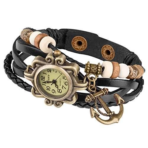 Taffstyle® Damen Analog Armbanduhr mit Lederarmband Retro Geflochten Armband Uhr Damenarmbanduhr mit Charms, Druckknopf Verschluss in Leder, Vintage, Surferarmband Style - Anhaenger: Anker  Farbe: Gruen