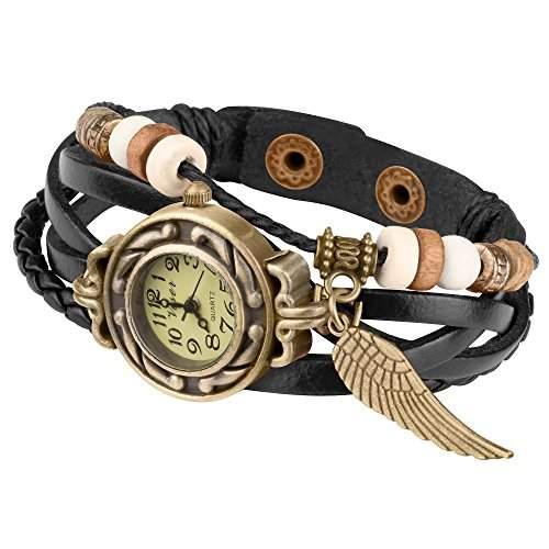 Taffstyle® Damen Analog Armbanduhr mit Lederarmband Retro Geflochten Armband Uhr Damenarmbanduhr mit Charms, Druckknopf Verschluss in Leder, Vintage, Surferarmband Style - Anhaenger: Fluegel  Farbe: Gruen