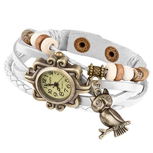 Taffstyle® Damen Analog Armbanduhr mit Lederarmband Retro Geflochten Armband Uhr Damenarmbanduhr mit Charms, Druckknopf Verschluss in Leder, Vintage, Surferarmband Style - Anhaenger: Eule  Farbe: Blau