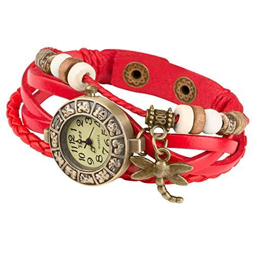 Taffstyle® Damen Analog Armbanduhr mit Lederarmband Retro Geflochten Armband Uhr Damenarmbanduhr mit Charms, Druckknopf Verschluss in Leder, Vintage, Surferarmband Style - Anhaenger: Libelle  Farbe: Rot
