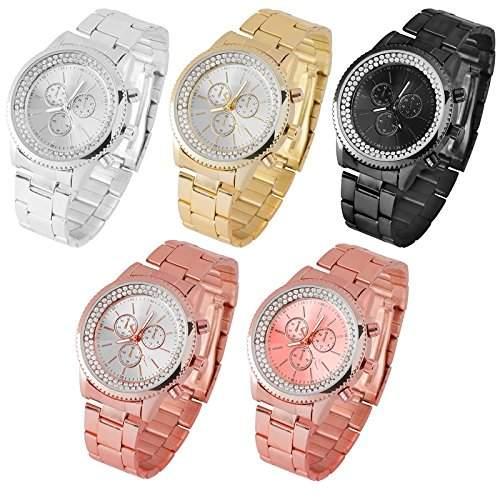 Taffstyle® Elegante Damen-Armbanduhr Designer Uhr Chronograph Optik mit Kristall Gold