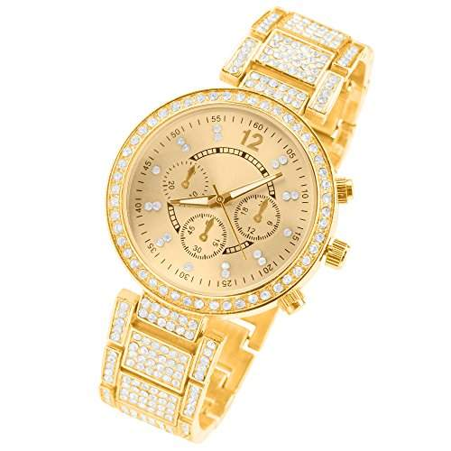 Taffstyle® Designer Kristall Strass Damen Armbanduhr Chronograph Optik Swarovski Elements Gold