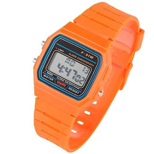 Taffstyle® Sportarmbanduhren - Viereckig Retro Silikon Digitaluhr Rechteckig Digitale Armbanduhr in 80er Jahre Style - Beleuchtbares Display, Datum, Kalender, Stoppfunktion und vielen anderen Funktionen fuer Damen & Herren - Orange