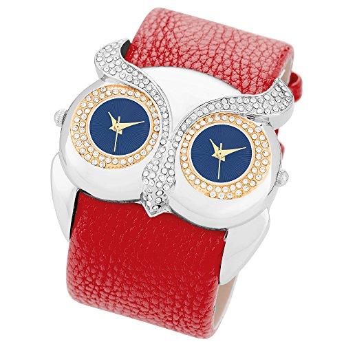 Taffstyle Dual Uhr 2 Zeitzohnen Eule mit Kristallen besetzt und PU Leder Armband Rot