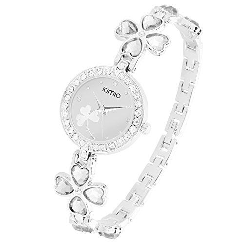 Taffstyle Uhr mit weissen Kristallen am Rand und Gluecksbringer Herzen Kleeblatt Silber Weiss