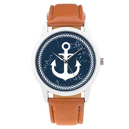 Taffstyle Unisex Armbanduhr Uhr Quarzuhr mit PU Leder Armband und Anker in Maritim Vintage Style Braun Blau