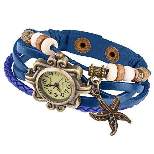 Taffstyle Quarz Uhr Vintage Retro mit Seestern Blau