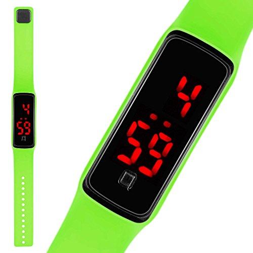Taffstyle LED Digitale Silikon Uhr Armbanduhr Sportuhr Kinder Damen Herren Gruen