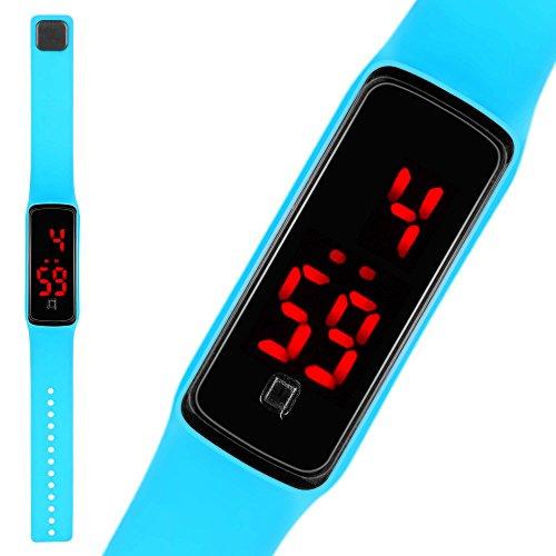 Taffstyle LED Digitale Silikon Uhr Armbanduhr Sportuhr Kinder Damen Herren Tuerkis