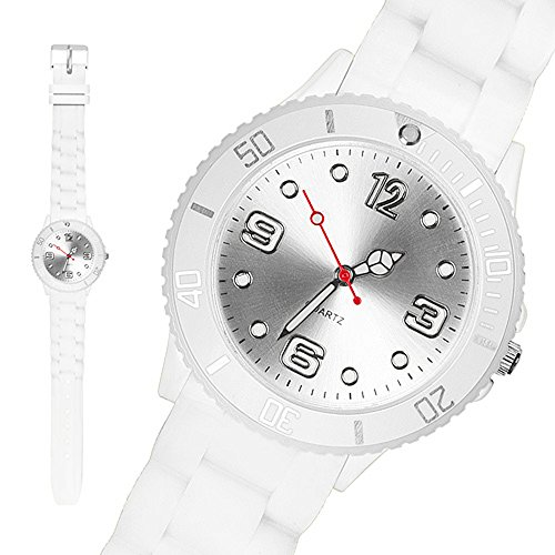 Taffstyle Sportarmbanduhren Sportuhr Bunte Damen Herren Silikon Armbanduhr Kinderuhr in verschiedenen Farben 34mm Weiss