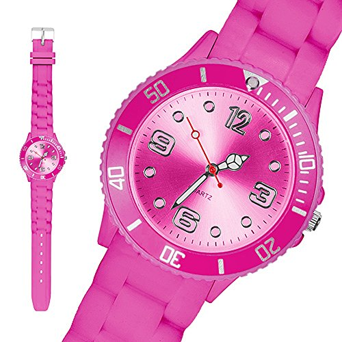 Taffstyle Sportarmbanduhren Sportuhr Bunte Damen Herren Silikon Armbanduhr Kinderuhr in verschiedenen Farben 34mm Pink