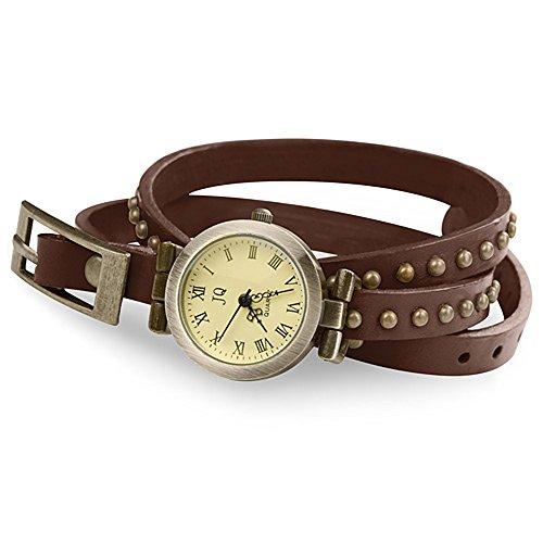 Taffstyle Damen Leder Analog Wickelarmband Uhr Vintage Armbanduhr Designer Wickeluhr Damenarmbanduhr Analoguhr mit Retro Look runden altgold Nieten und lederarmband zum wickeln Braun Gold