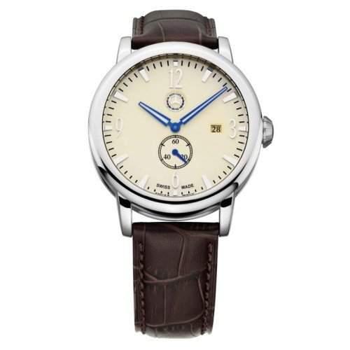 Mercedes-Benz Armbanduhr Uhr Herren Kleine Sekunde beige  braun, Edelstahl  Kalbsleder