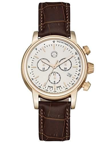 Chronograph Herren, Classic Retro Gold roségold  silber  braun, Edelstahl  Kalbsleder