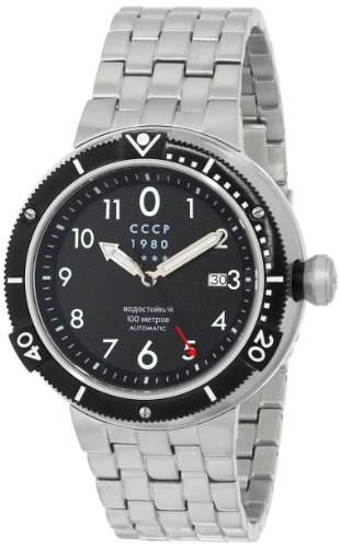 CCCP Herren CP-7004-11 Kashalot Analog Display Japanese Automatic Silver Armbanduhr