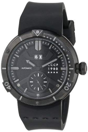CCCP Herren CP-7006-04 Kashalot Analog Display Automatic Self Wind Black Armbanduhr