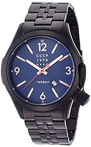 CCCP cp-7010-33Schwarz Zifferblatt mit Edelstahl SS Metall Armband Herren Armbanduhr Analog mit Datum Fenster